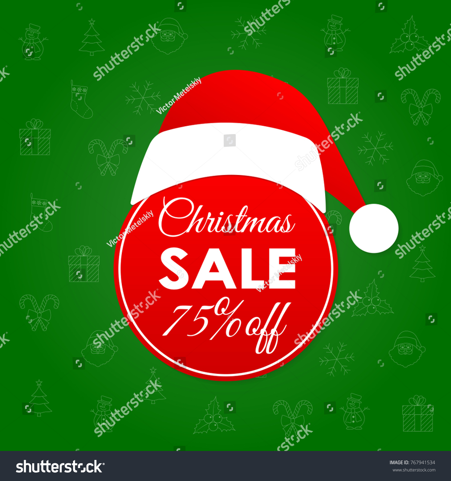christmas sale and discount banner 75 percent price off xmas and holiday badge or