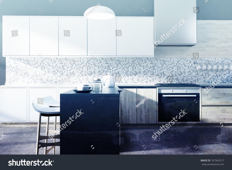Black Kitchen Interior Mosaic Wall Concrete Stock Illustration ...