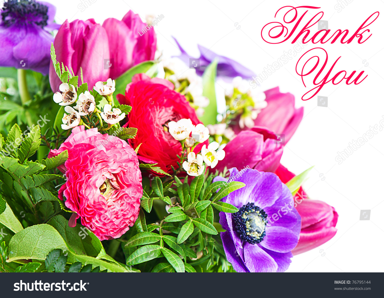 Thank you colorful flowers bouquet card stock photo edit now thank you colorful flowers bouquet card concept izmirmasajfo
