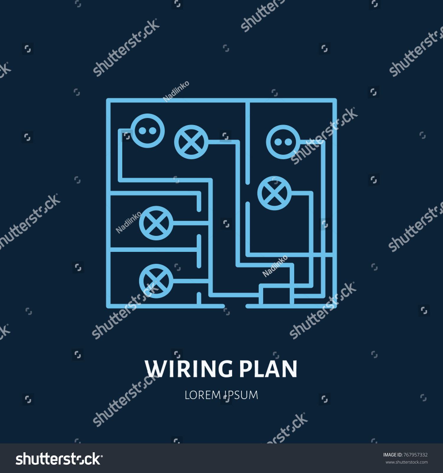 Wiring plan flat line icon vector stock photo photo vector wiring plan flat line icon vector sign of electrical service electricity cables in house asfbconference2016 Image collections