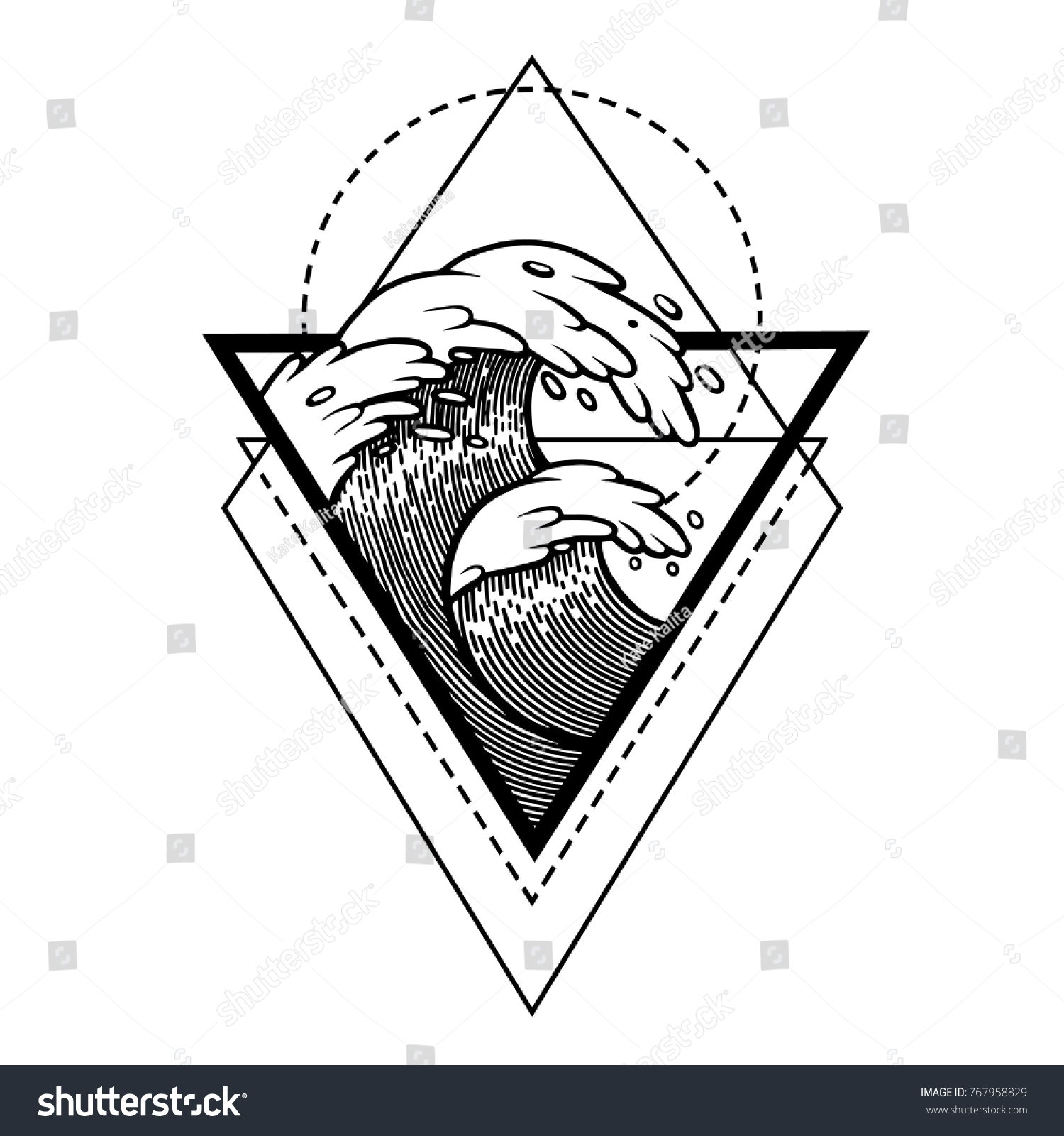 Water waves water sacred geometry frame stock vector 767958829 water waves in the water with sacred geometry frame tattoo mystic symbol boho biocorpaavc