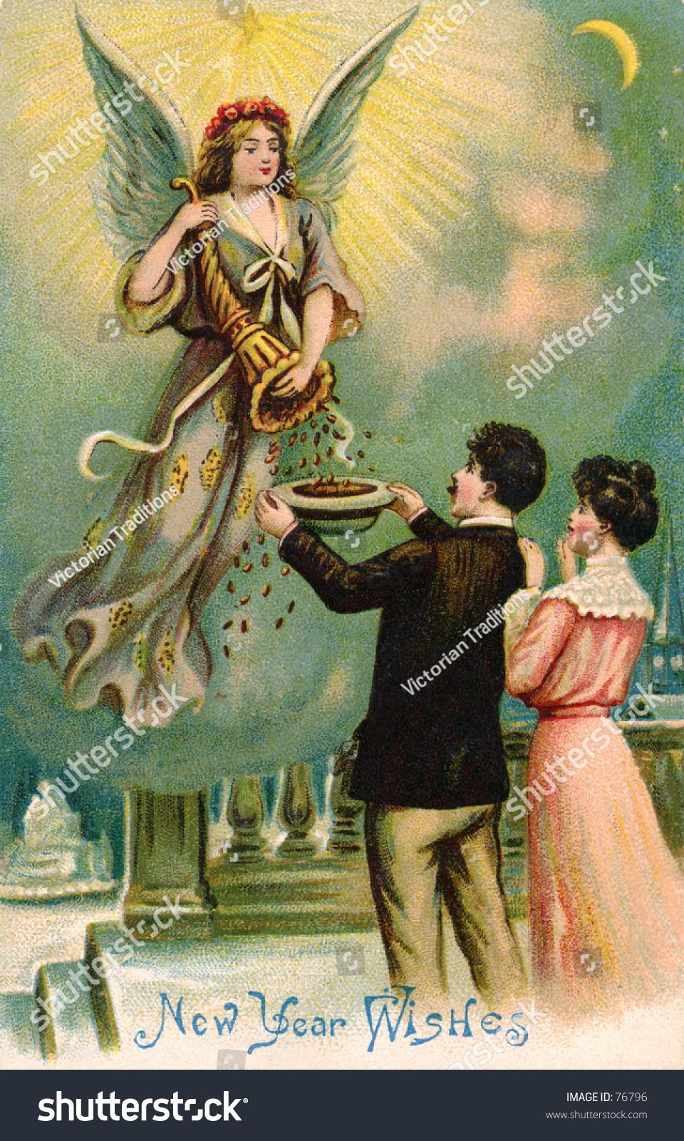 1911 Vintage Happy New Year Greeting Stock Photo 76796 ...
