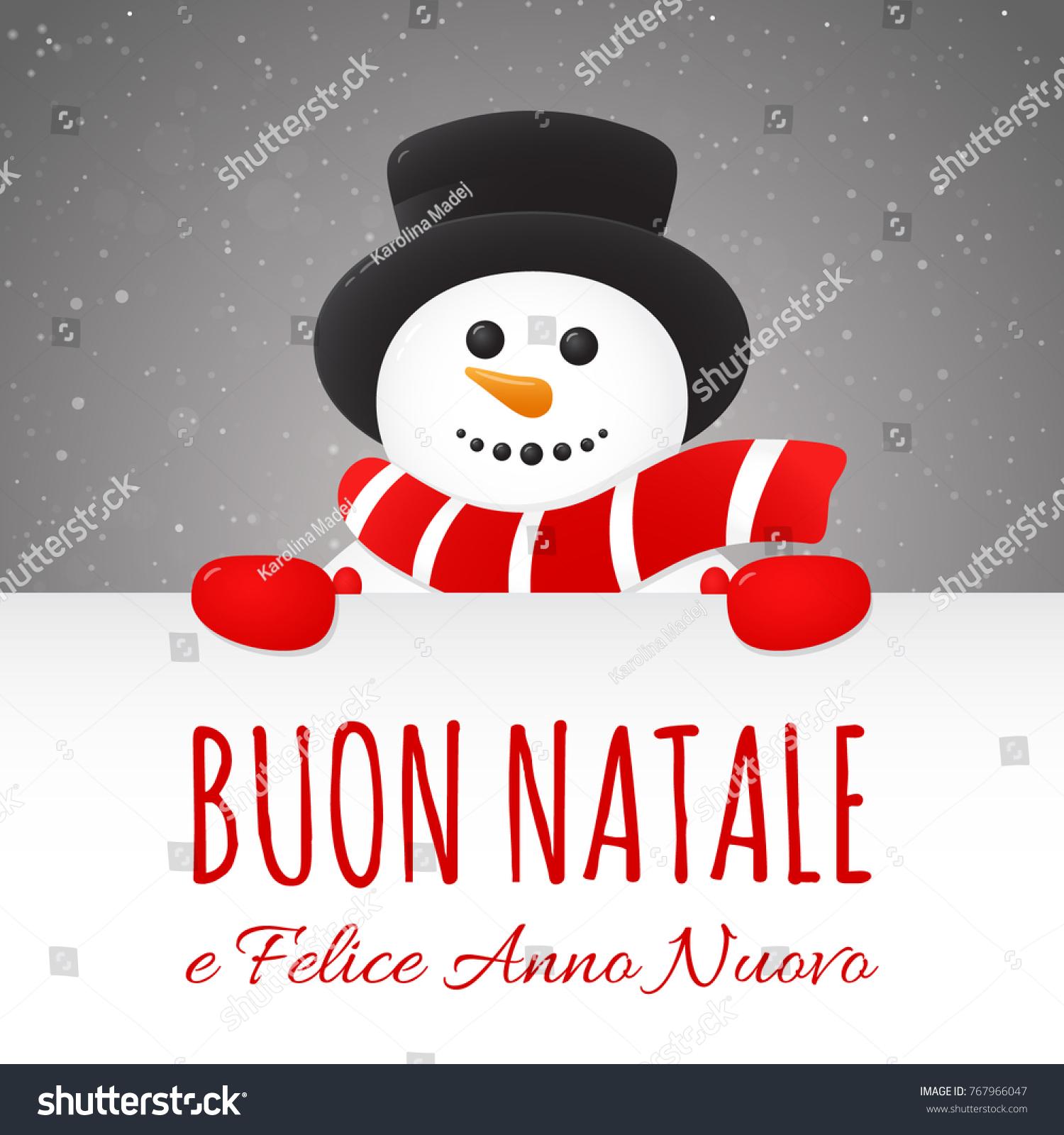Merry Christmas Italian Buon Natale Concept Stock Vector 767966047