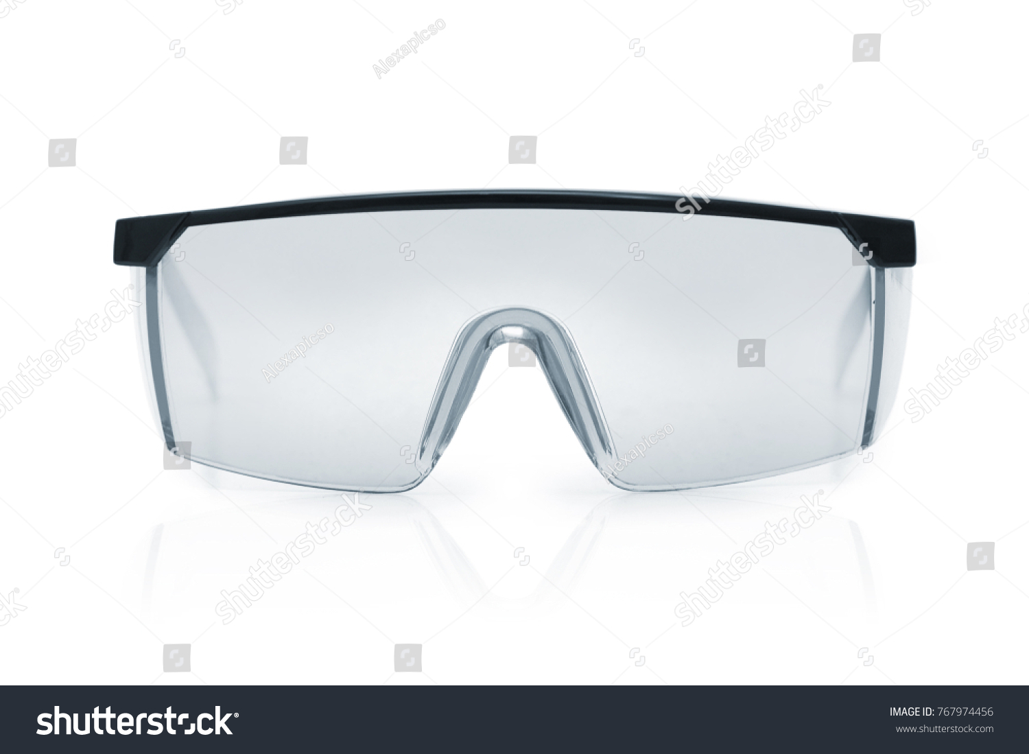Goggles or Safety Glasses. Protective workwear to protect human eyes. Single object isolated over a white background. #767974456