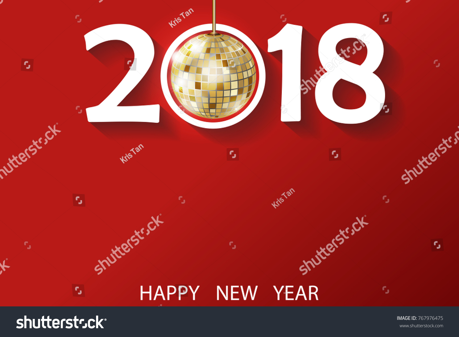 happy new year 2018 greeting card stock vector 767976475