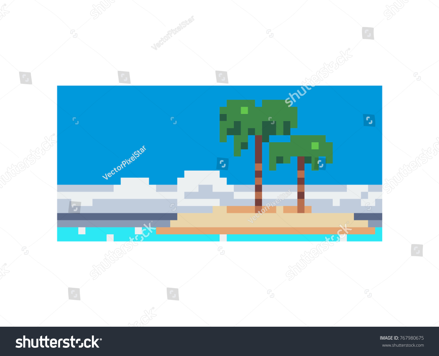 Greeting card sea landscape pixel art stock vector 767980675 greeting card sea landscape pixel art style vacation holiday tropical ocean island with kristyandbryce Gallery