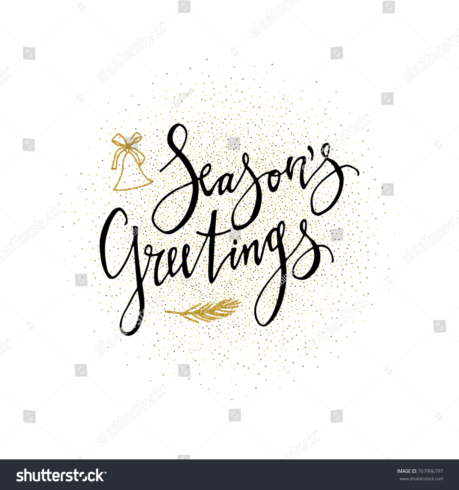 Seasons Greetings Card Calligraphy Phrase Gold Stock Vector Royalty