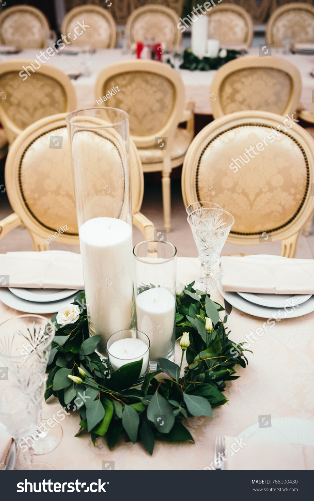 Wedding Table Decorations White Candles Greenery Stock Photo Edit