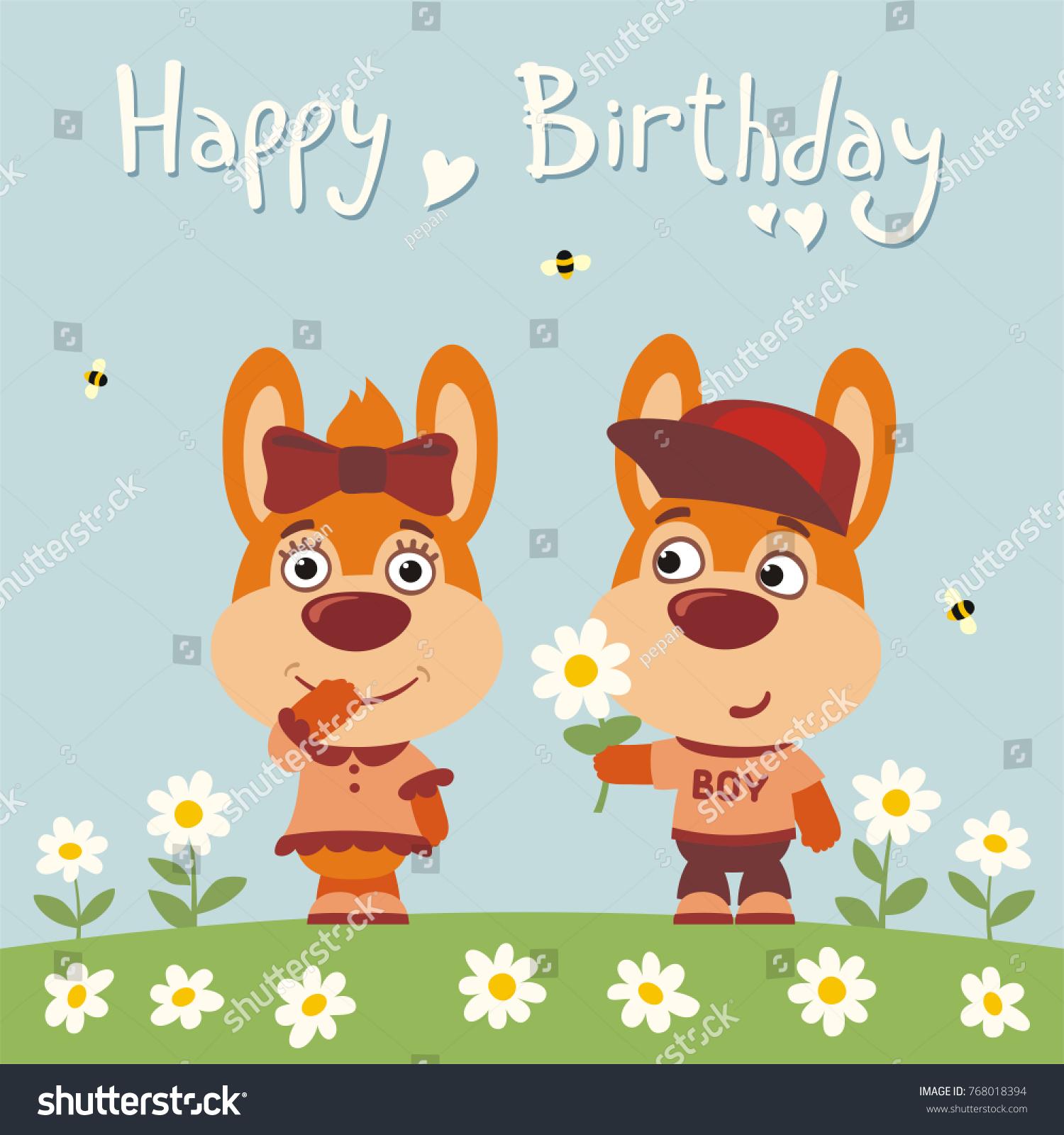 Happy Birthday Greeting Card Funny Rabbit Stock Vector