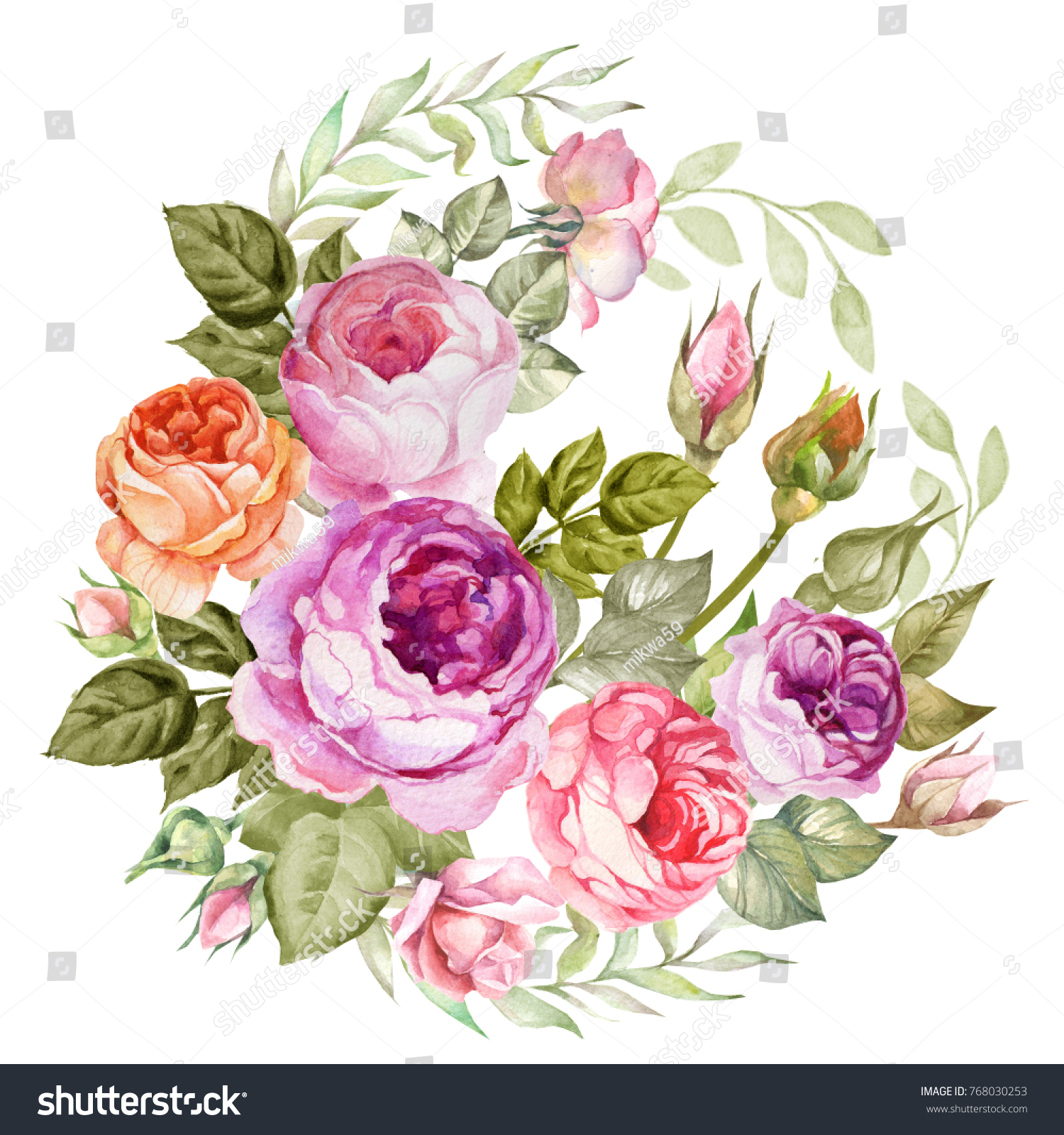 Vintage flowers bouquet watercolor roses stock illustration vintage flowers bouquet of watercolor roses izmirmasajfo