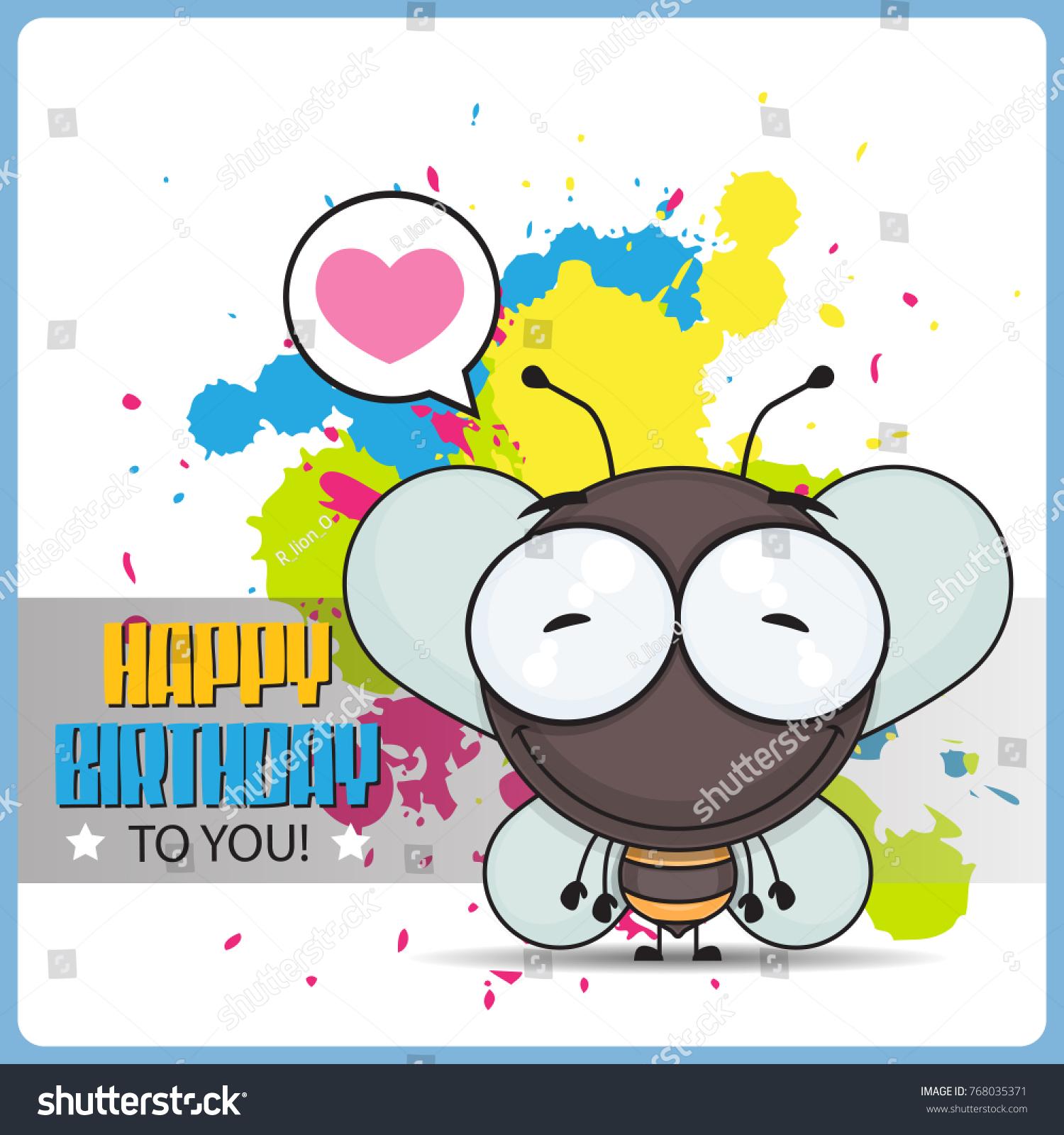 Funny happy birthday greeting card cartoon stock vector 768035371 funny happy birthday greeting card with cartoon bee character kristyandbryce Images