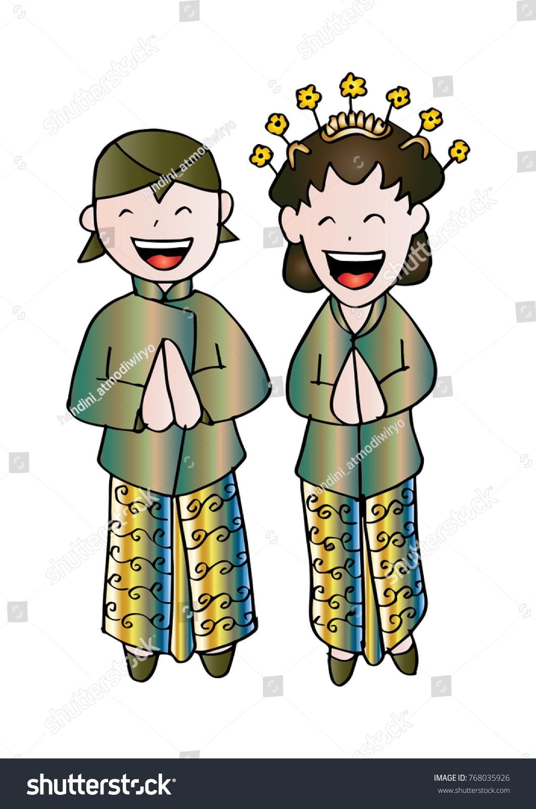 Bridal Couple Java Cartoon Style Stock Vector Royalty Free
