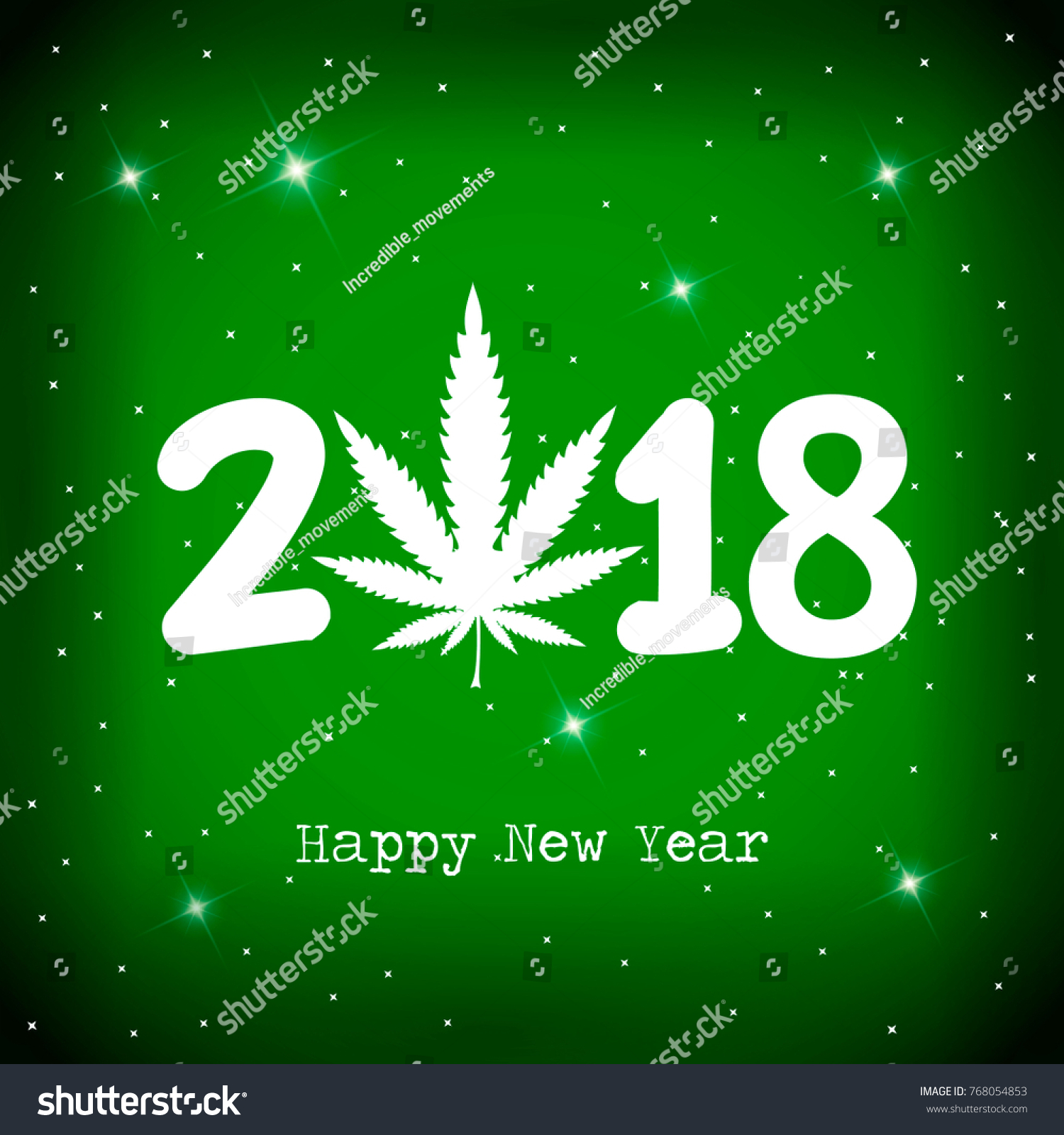 marijuana leaf and 2018 year on green background with white snowflakes happy new year card