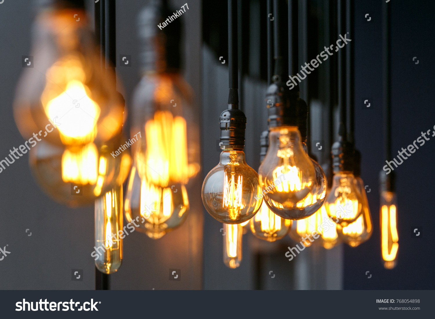 Vintage Tungsten Filament Multiple Lamps Different Stock Photo Edit Lighting Fixture Using On Wiring Ceiling Light Of Size And Style Hanging From The A