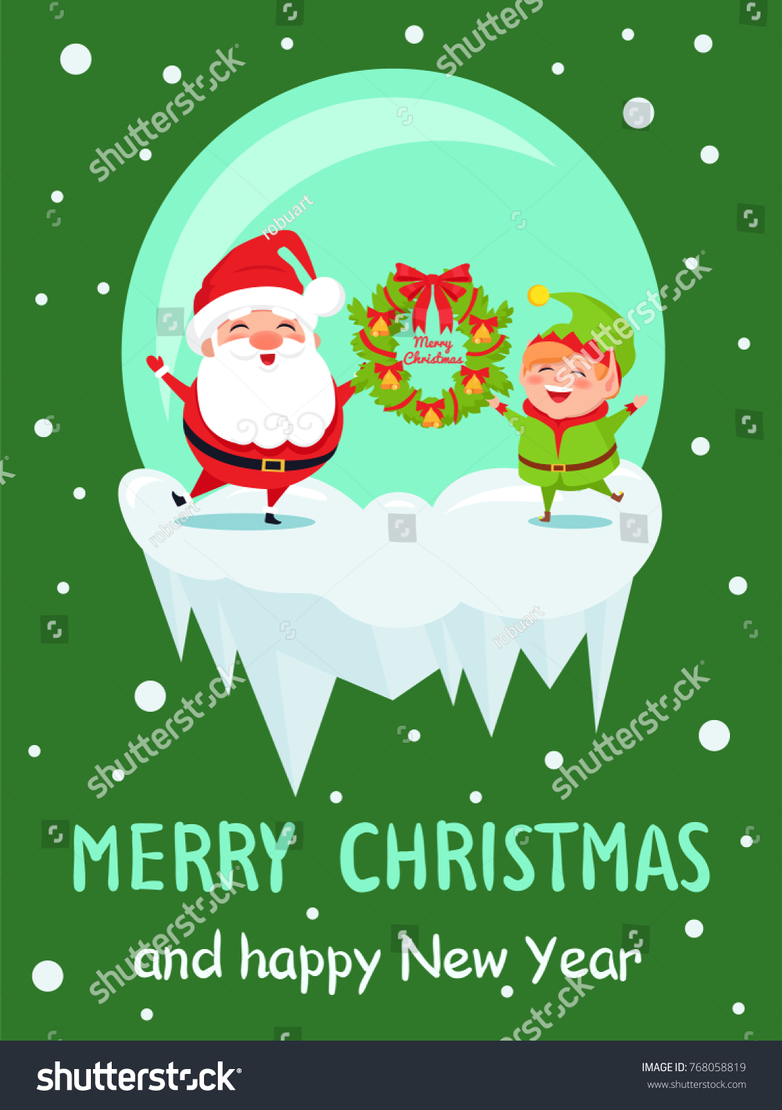 Merry Christmas Happy New Year Poster Stock Vector 768058819