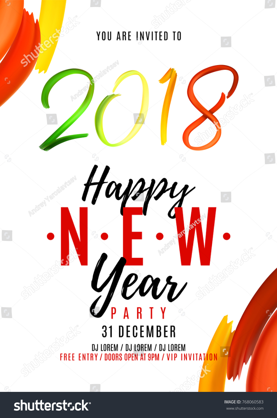 2018 New Year Party Flyer Hand Stock Vector (Royalty Free) 768060583 ...