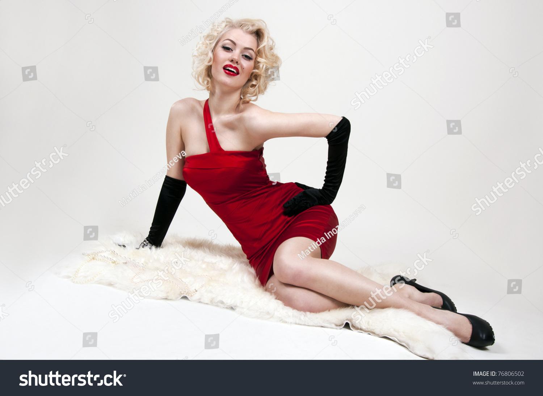 Pretty Blond Girl Model Like Marilyn Stock Photo 76806502