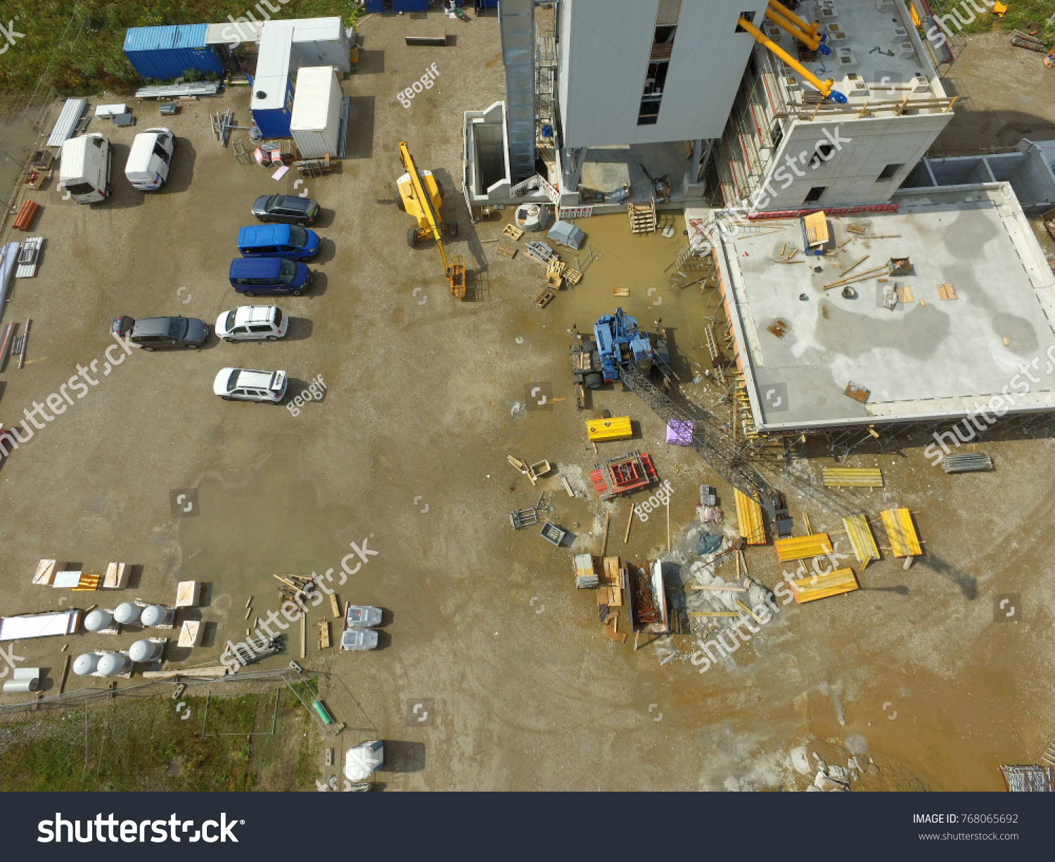 Vertical Aerial Photograph Taken From A Large Construction Site At 50 Meters Height With The Drone
