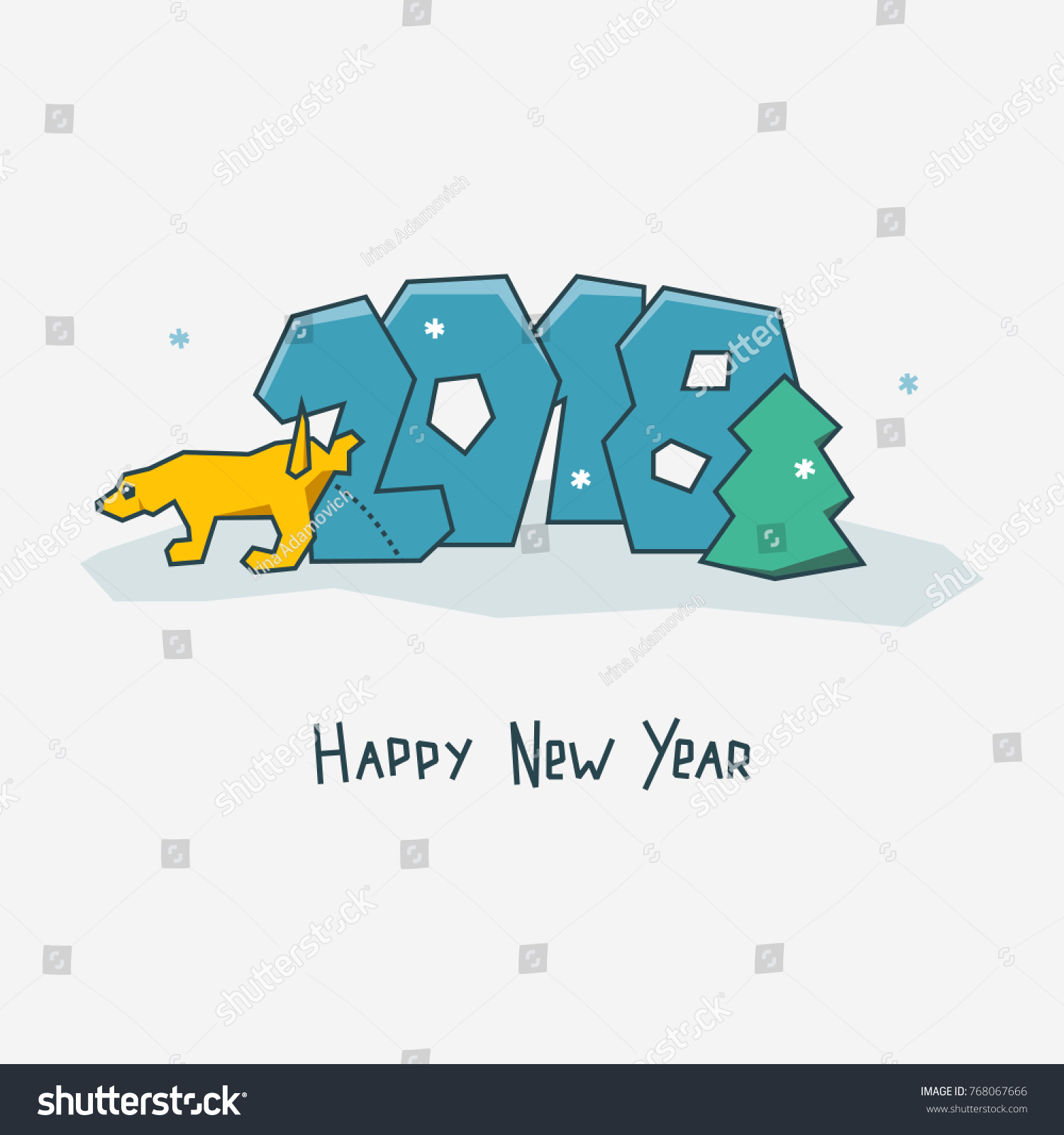 Happy New Year Card Sign 2018 Stock Vector (Royalty Free) 768067666 ...