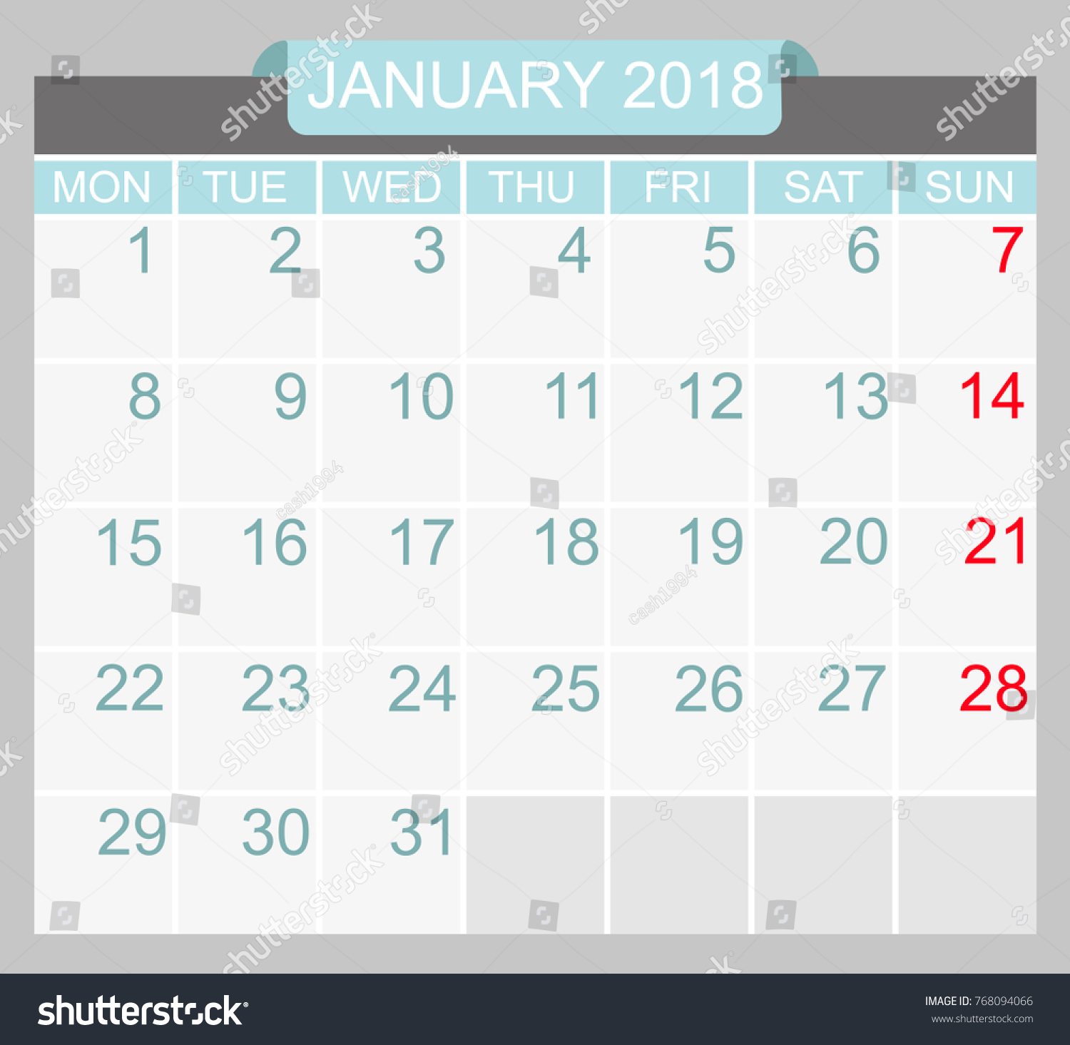 vector of january 2018 new year calendar in clean minimal table simple style holiday event