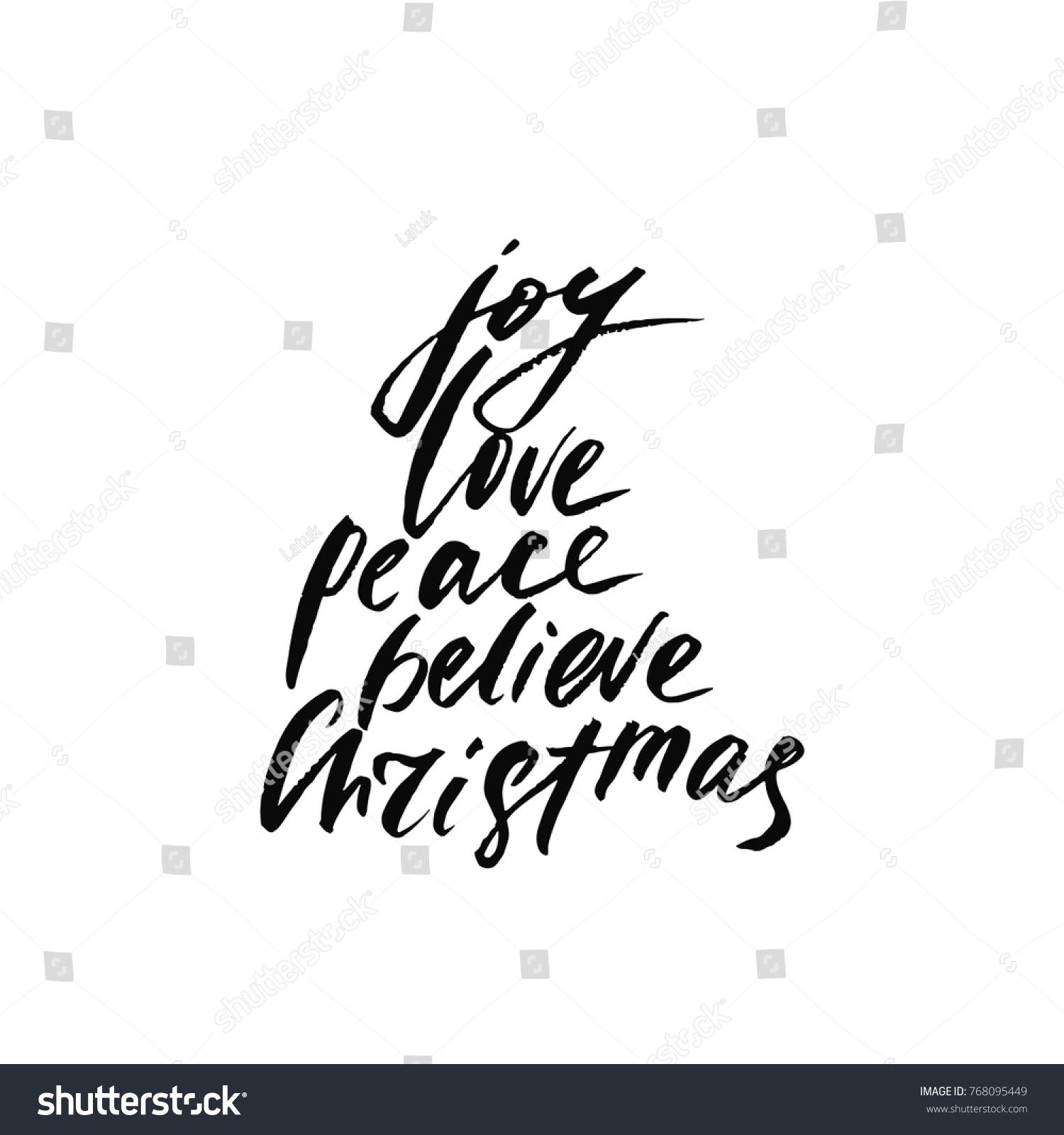 Joy Love Peace Believe Christmas Holiday Stock Vector 768095449