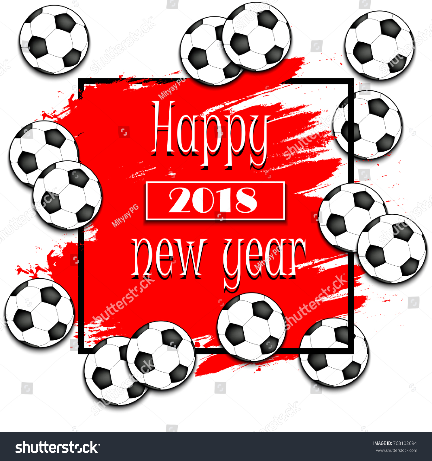 Happy New Year 2018 Soccer Balls Stock Vector Royalty Free