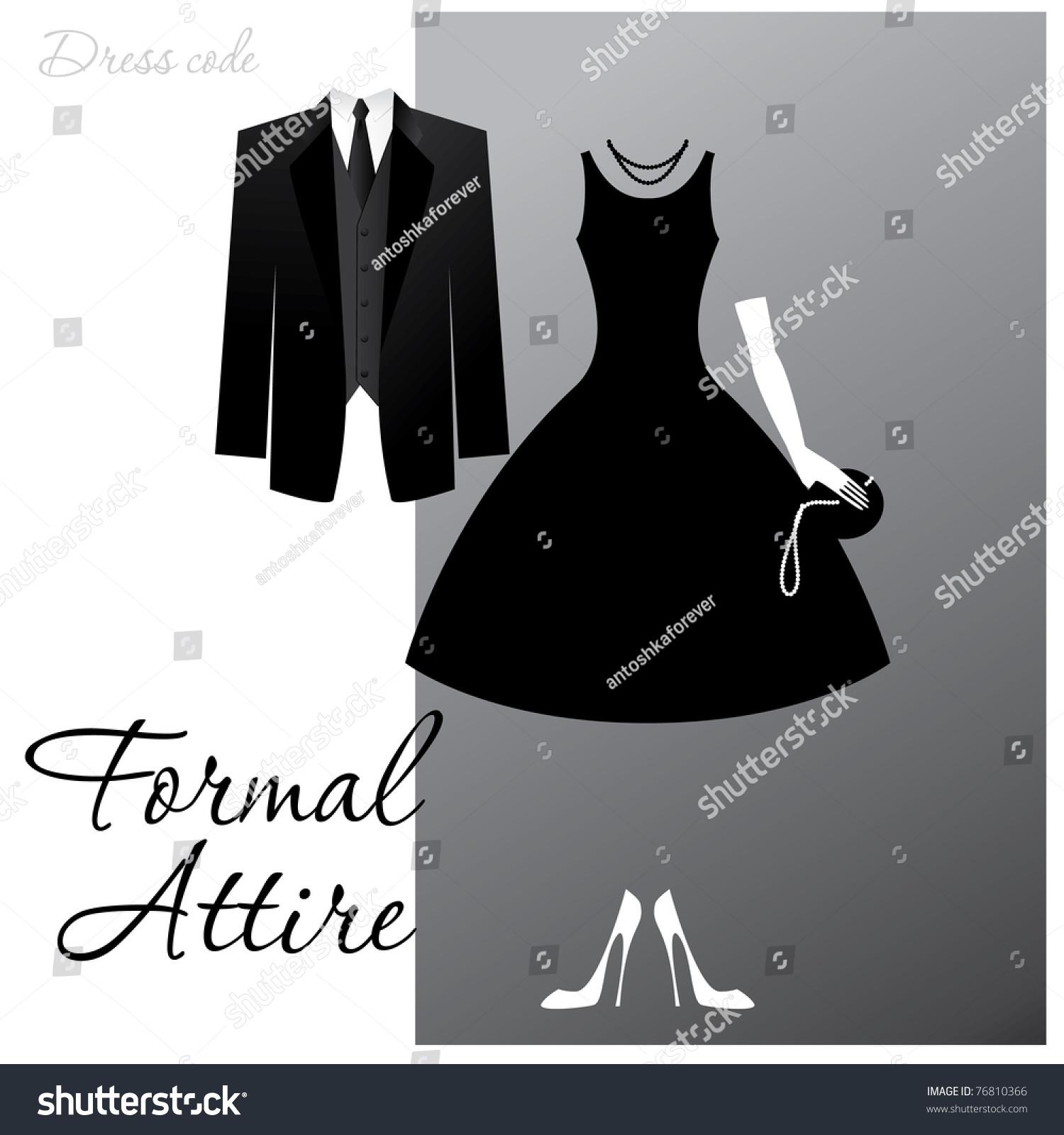 Dress Code Formal Attire Man Black Stock-vektorgrafik 76810366 ...