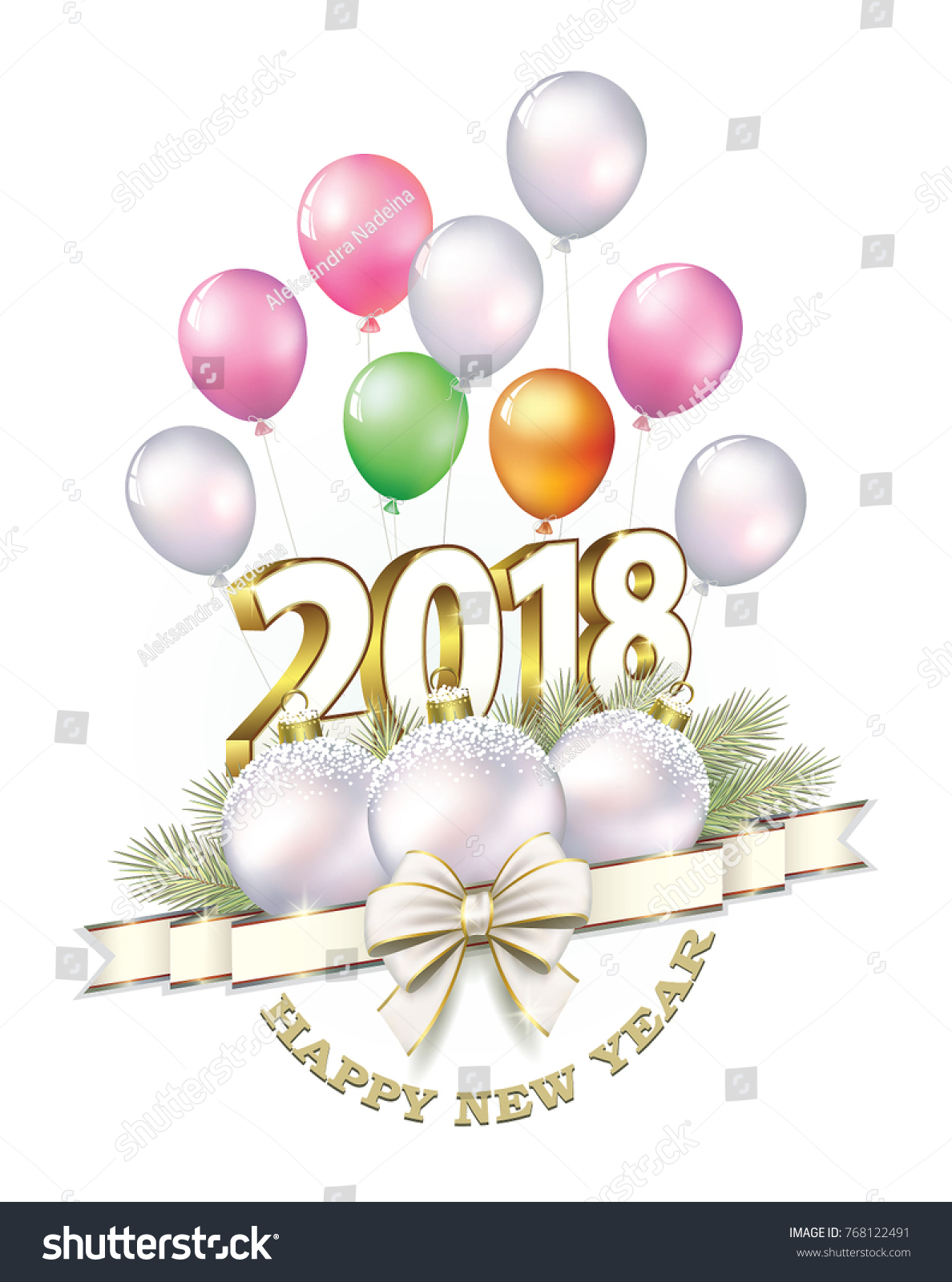 happy new year 2018 date 2018 with balls and ribbon with a bow on the