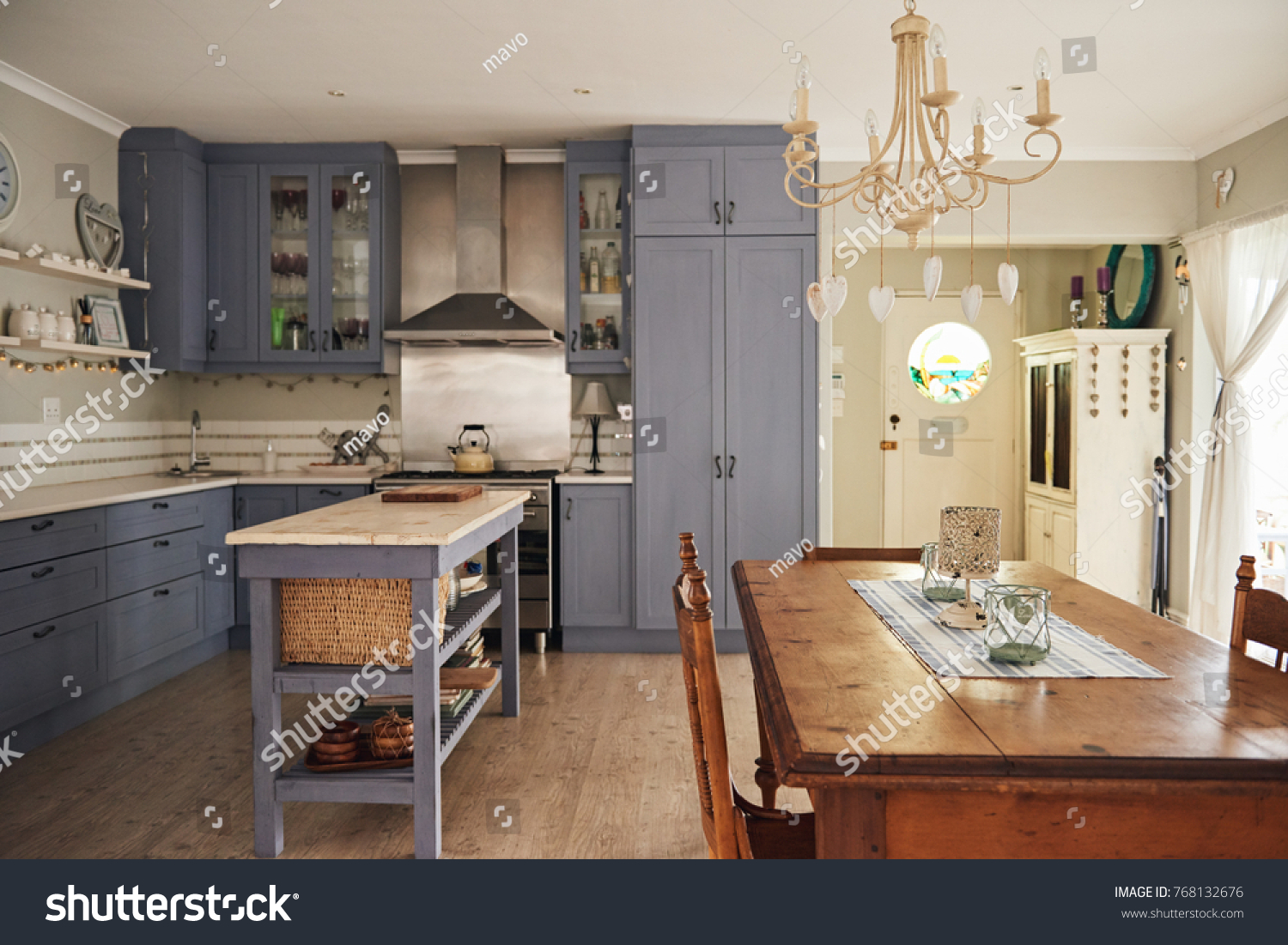 Interior Country Style Kitchen Island Dining Stock Image
