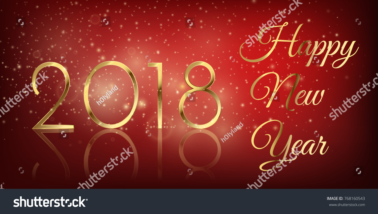 Happy New Year 2018 Beautiful Gold Stock Vector (Royalty Free ...