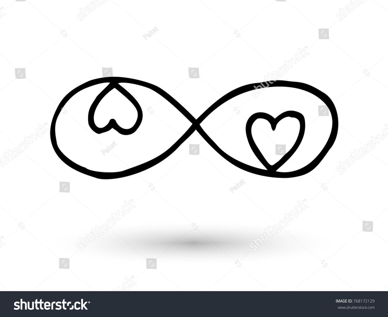 Infinity Symbol Hearts Hand Drawn Ink Stock Vector Royalty Free