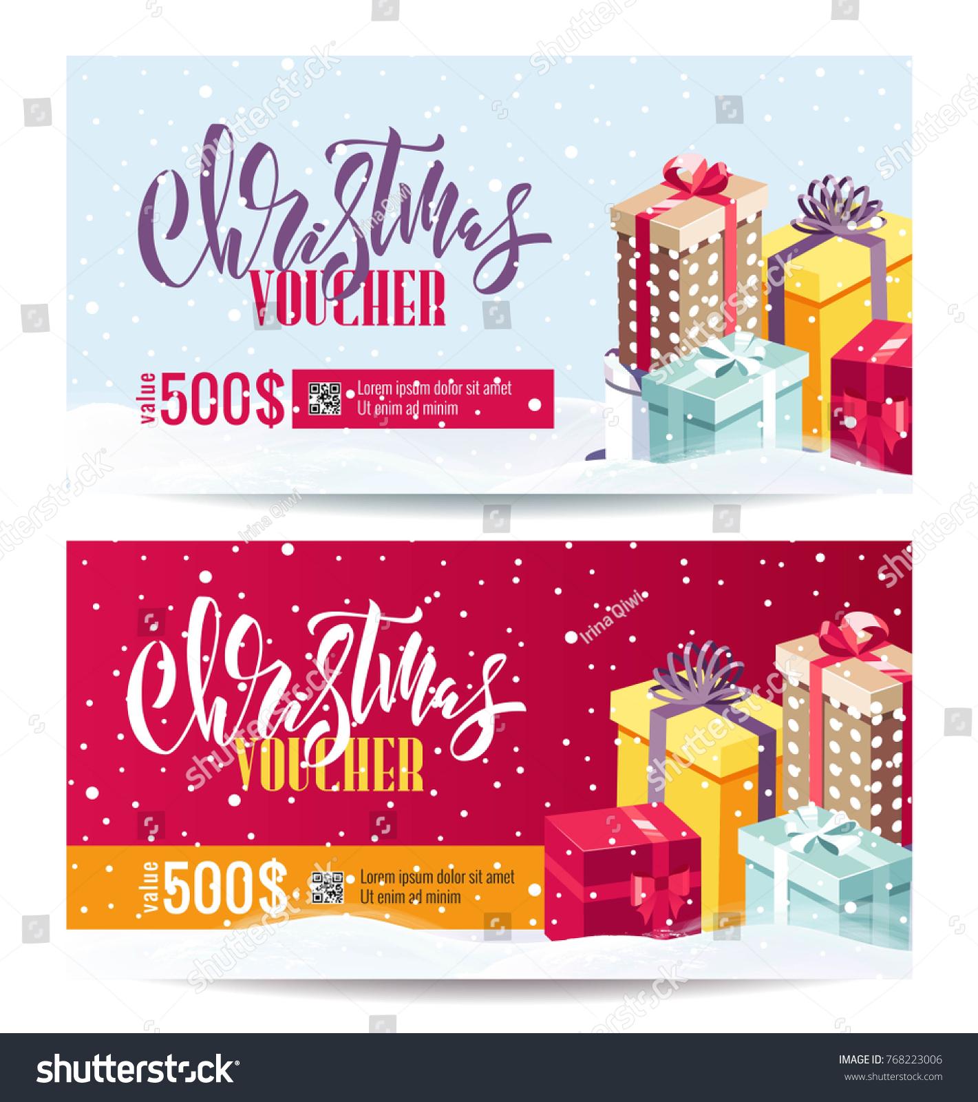 Christmas Gift Voucher Coupon Discount Gift Stock Vector 768223006