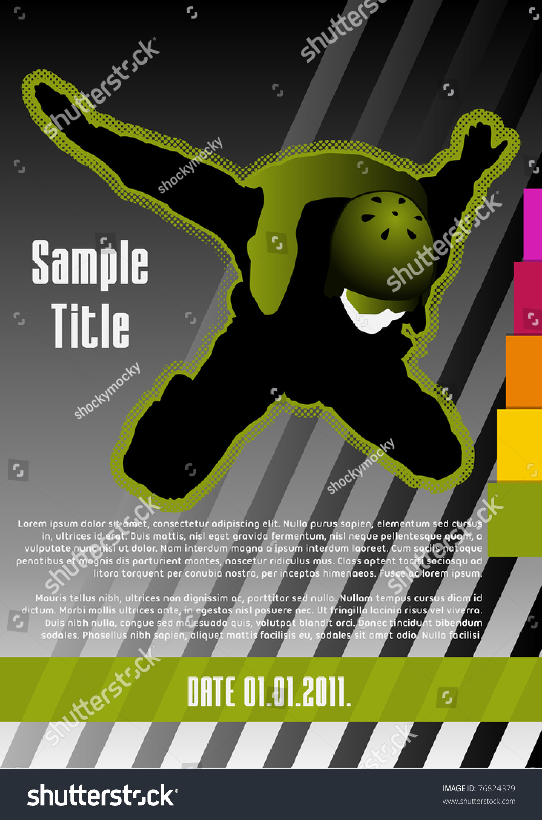 Parachuting Concept Poster Template. Vector Illustration. - 76824379 ...