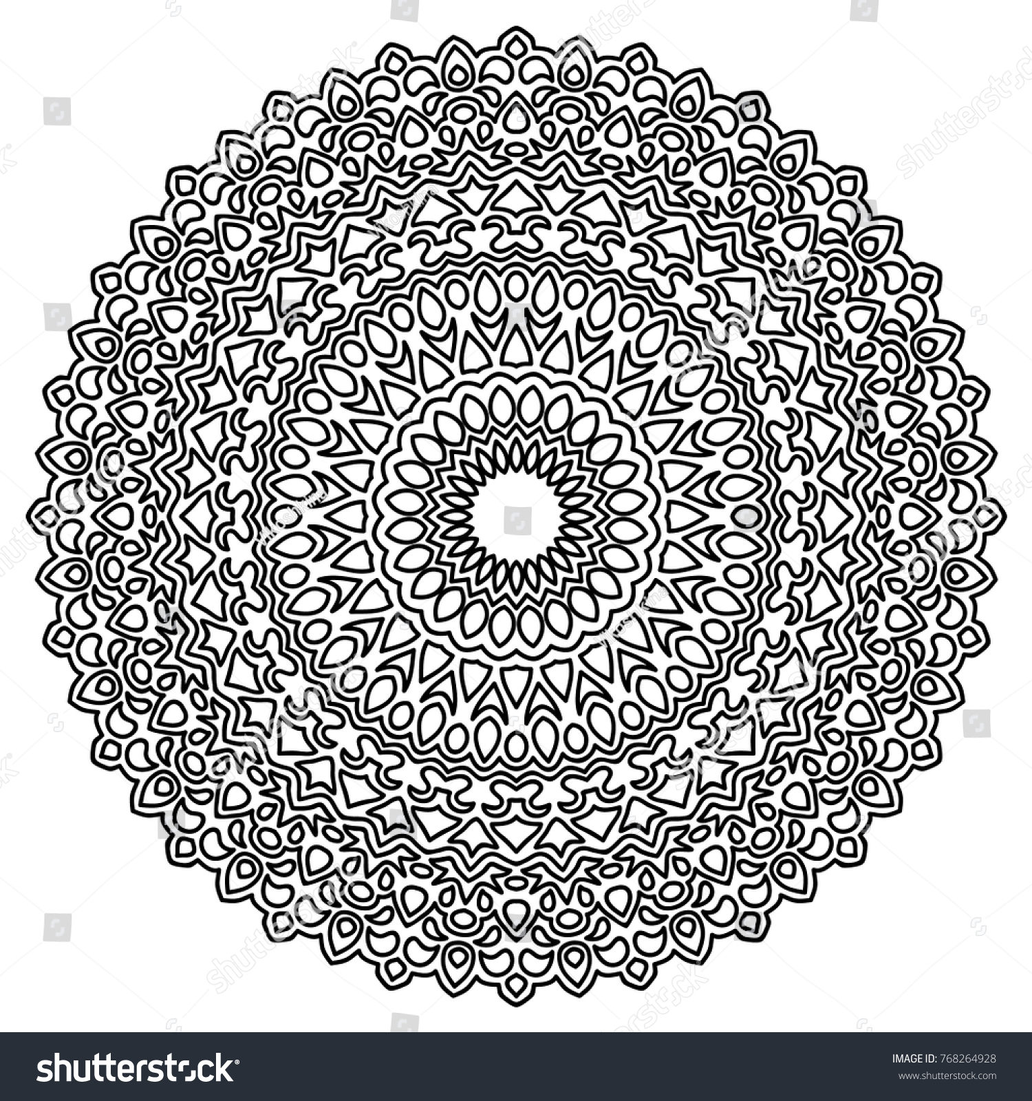 Ethnic Mandala for Adult Coloring Book Black and White Round Pattern in Indian Style
