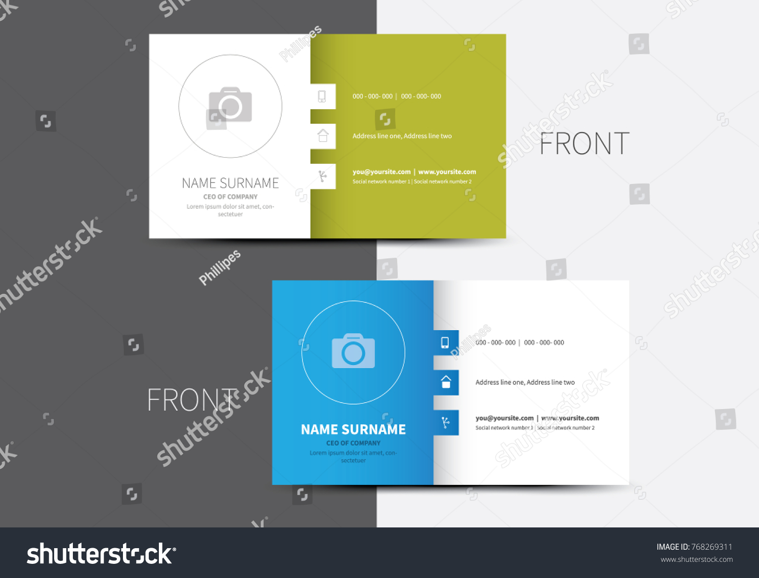 Business Card Layouts Blue Green Color Stock Vector 768269311 ...