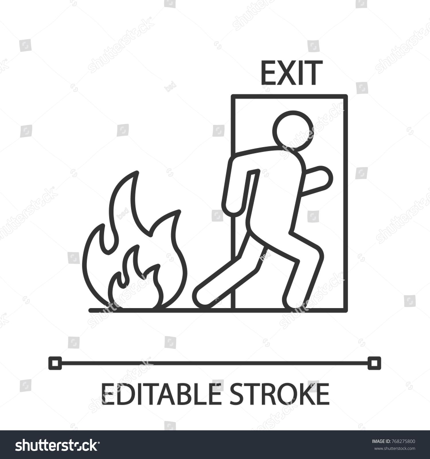 Fire Emergency Exit Door Human Linear Stock Vector Royalty Free