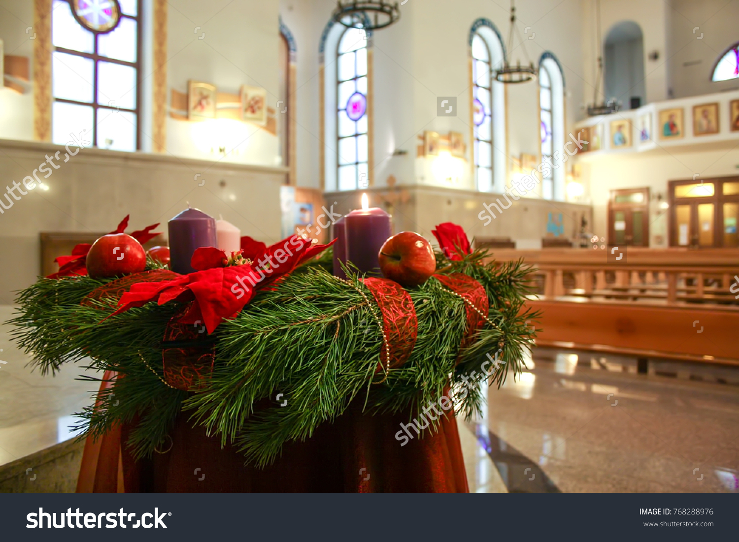 Christmas Wreath Candles Advent Interior Stock Photo Royalty Free 768288976