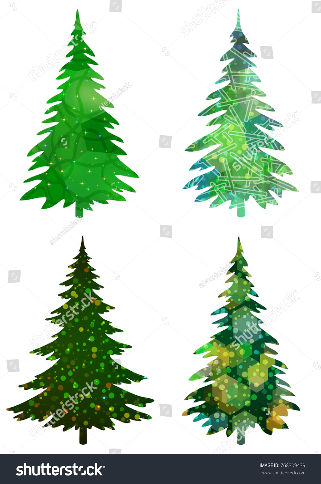 Set Green Holiday Christmas Trees Winter Stock Vector 768309439