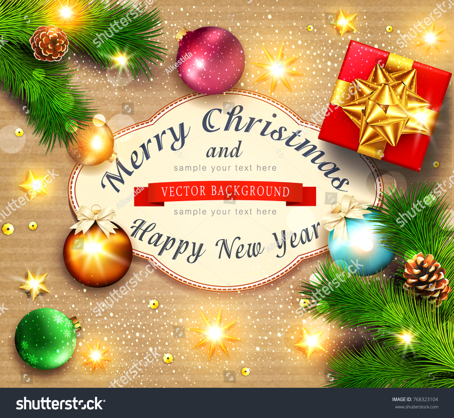 Vector illustration merry christmas happy new stock vector 768323104 vector illustration for merry christmas and happy new year greeting card with new years balls kristyandbryce Choice Image