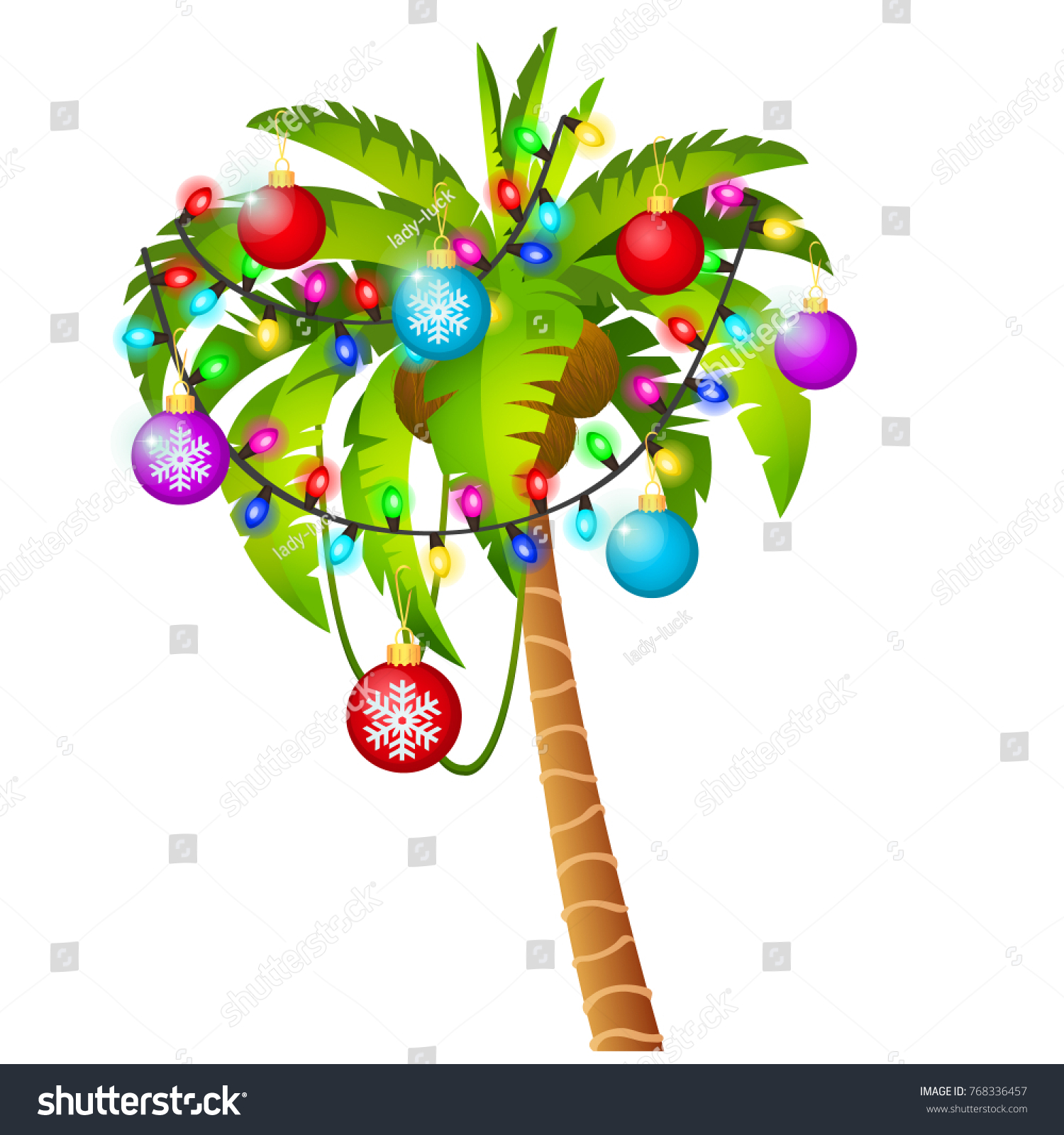 palm tree decorated with christmas toys garland colored baubles isolated on white background