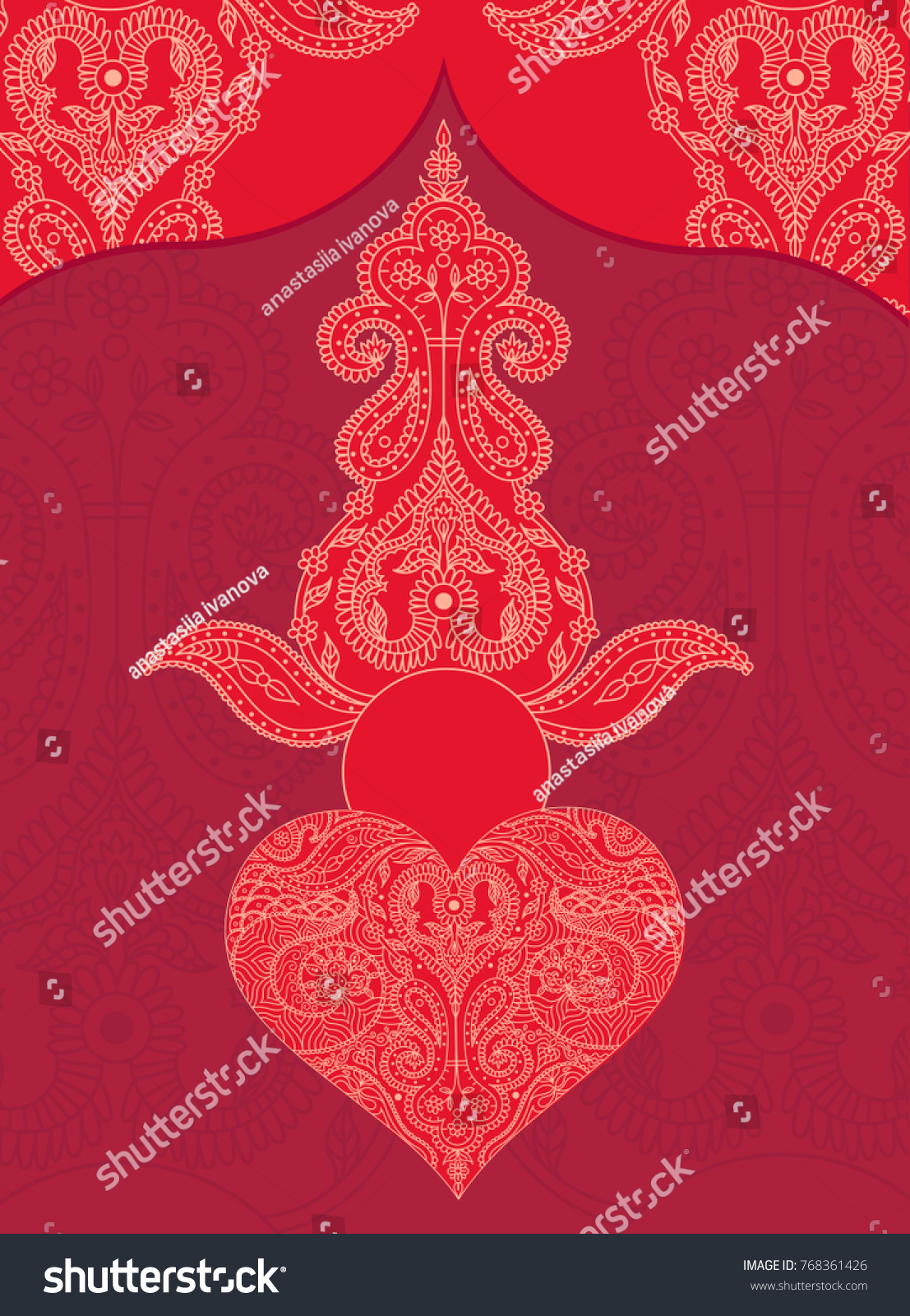 Wedding Indian Red Color Invitation Card Stock Vector 768361426 ...