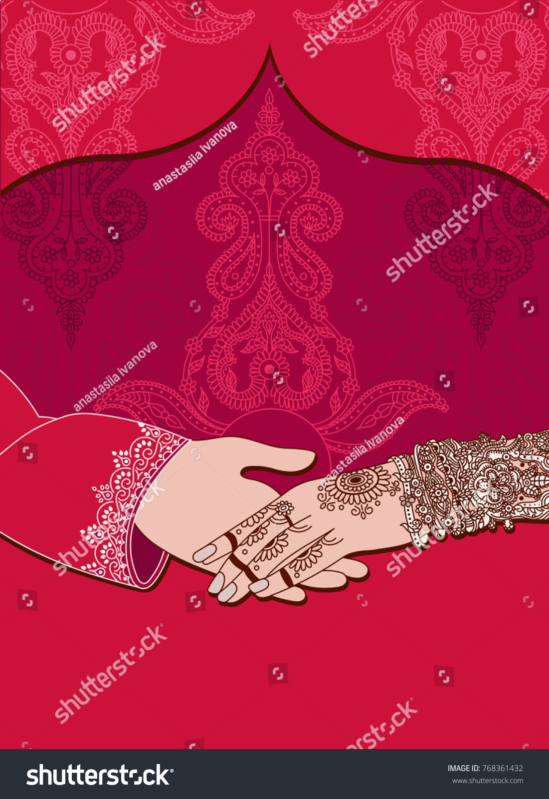 Wedding Indian Invitation Card On Red Image Vectorielle De Stock