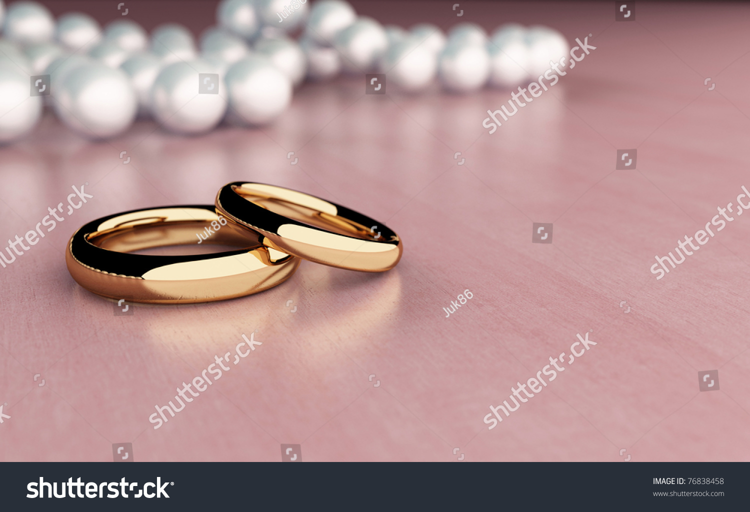 Two Golden Rings On Wood Table Stock Illustration 76838458 ...