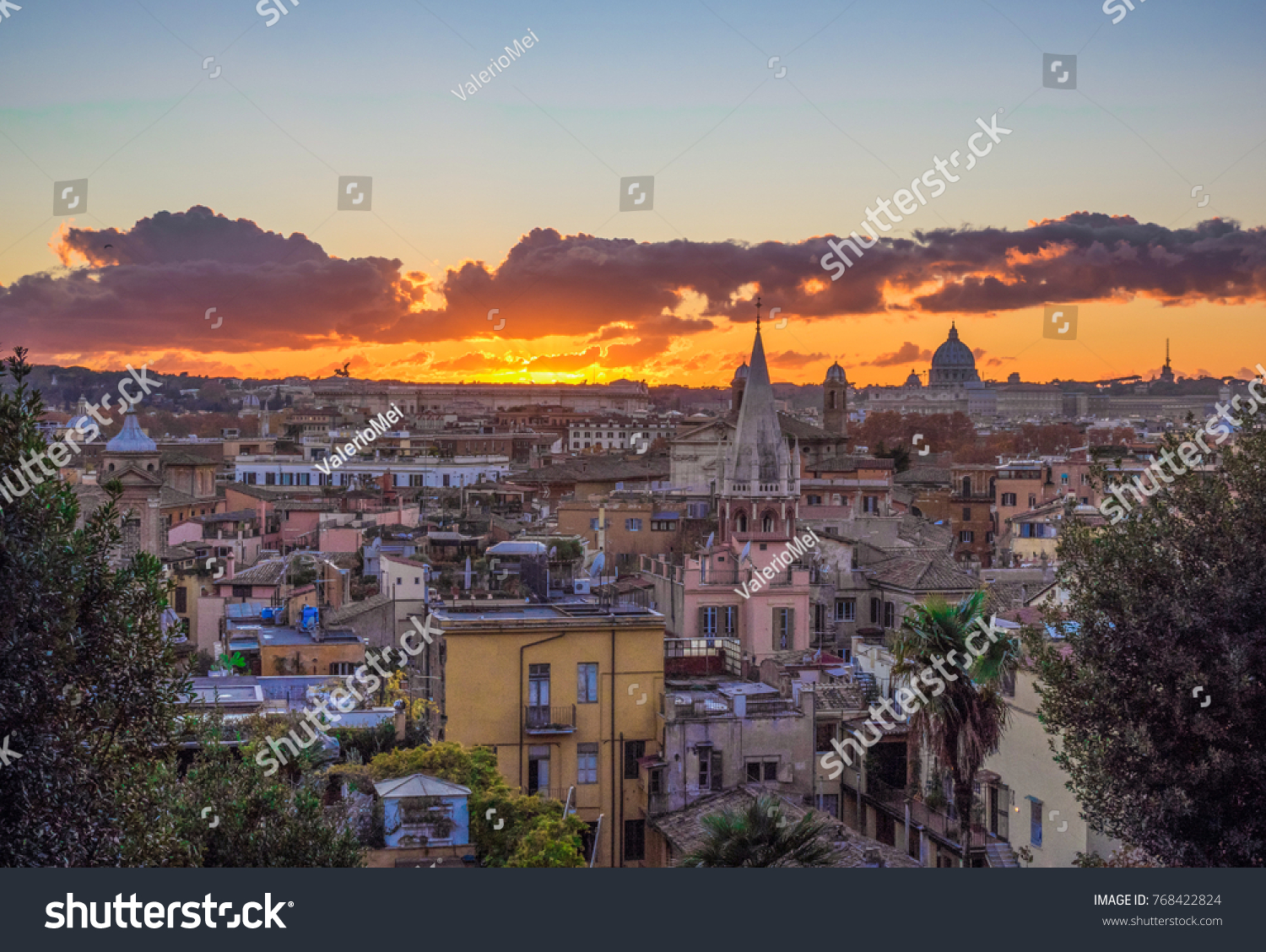 Rome Italy Sunset Terrazza Del Pincio Stock Photo Edit Now