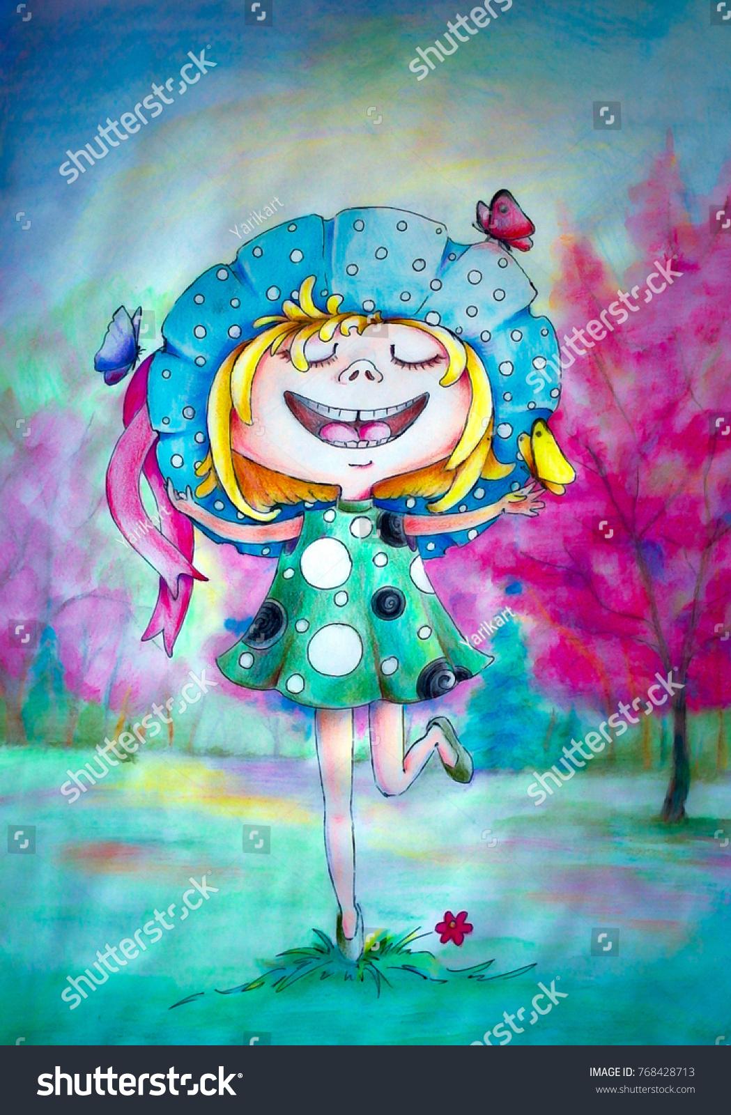 Pencil sketch watercolor paintings girl spring