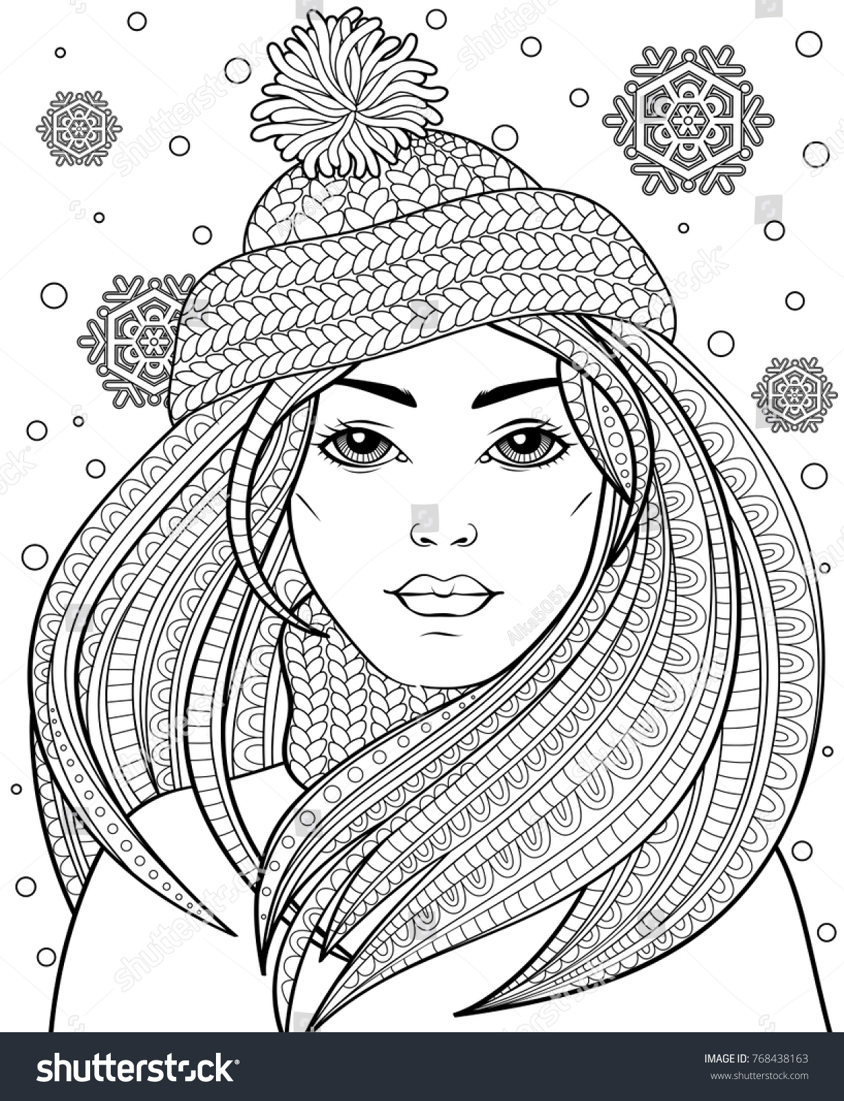 Young beautiful girl with long hair in knitted hat. Tattoo or adult ...