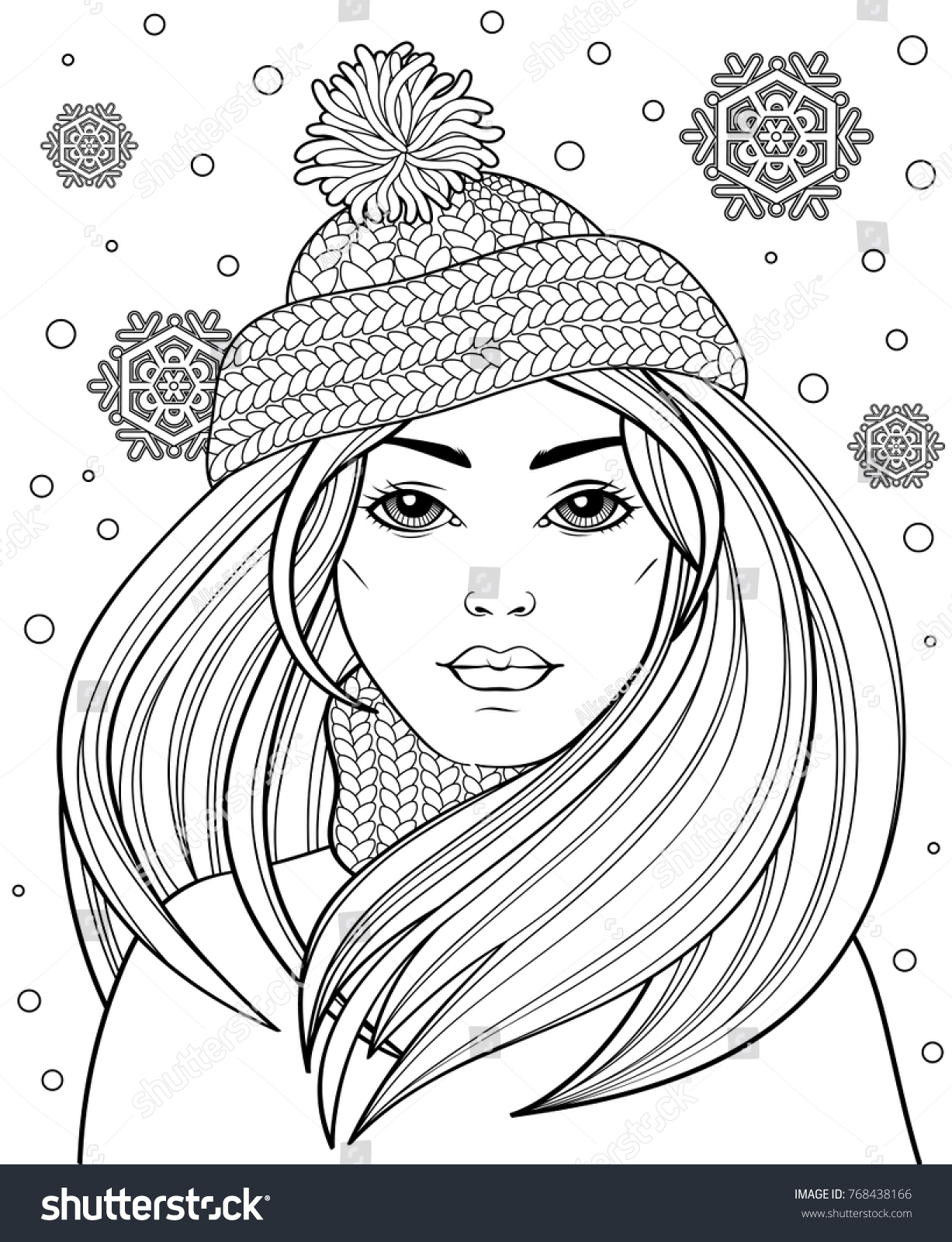 Young Beautiful Girl Long Hair Knitted Stock Vector Royalty Free