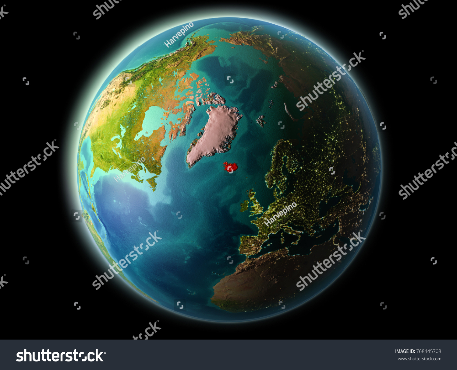 Iceland orbit planet earth night highly stock illustration 768445708 iceland from orbit of planet earth at night with highly detailed surface textures 3d illustration gumiabroncs Gallery