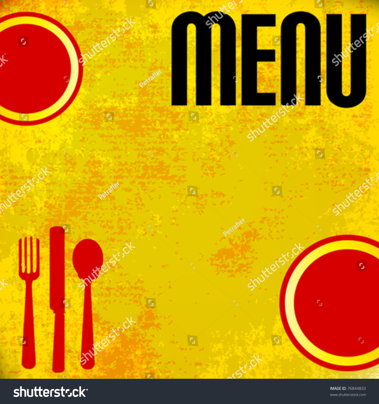 menu vector template over grunged yellow stock vector (royalty free