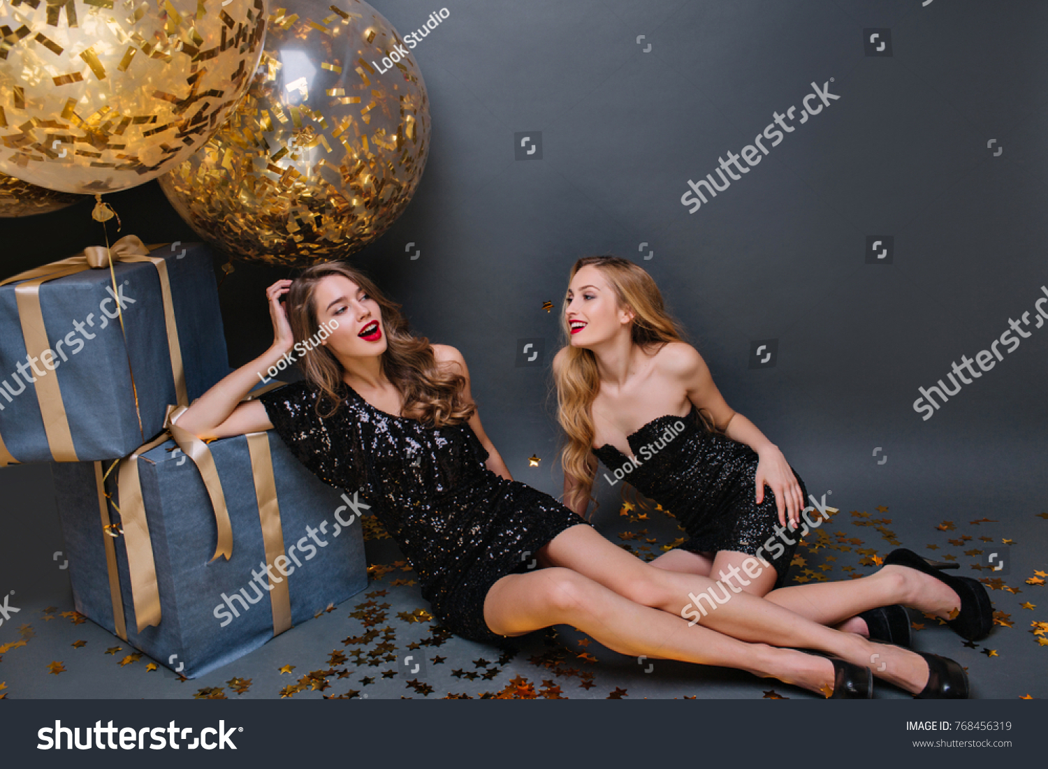 Pretty Young Lady In Black Dress Celebrating Birthday With Best Friend Spectacular Long Haired